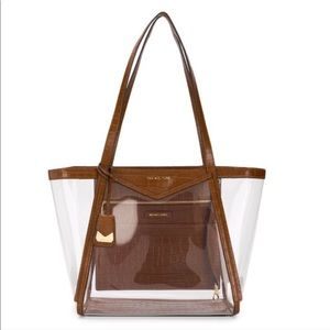 NWT Michael Kors Whitney Clear Inset Large Tote